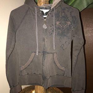 Roxy Brown Zipper Hoodie Sweatshirt Small